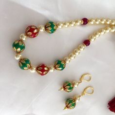 Green and Red Meenakari Beads Necklace Pearl Necklace by Alankaar