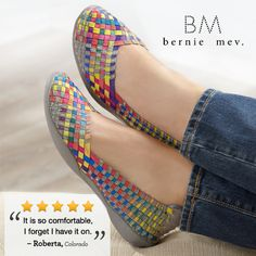 Customers love Bernie Mev! These casual women's shoes match many outfits, and they're so comfortable that you'll forget you even have them on, thanks to the woven elastic uppers. Choose from fun flats and wedges in great colors from basic black to metallic bronze and multi-colored designs.