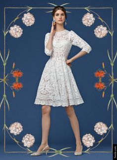 Look of the Day Dolce&Gabbana Fall 2014 Pre Collection Womenswear: Embroidered Net White Dress -