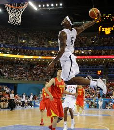 LeBron James dunking against China in the Summer Olympics.