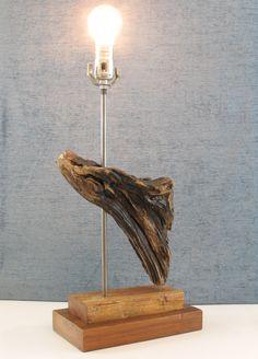 Drift wood modern rustic lamp with reclaimed wood cedar base, Driftwood Waterfall Lamp.