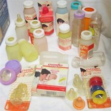 NOS EVENFLO BABY BOTTLES Plastic Pastel HTF Vintage Feeding Items Lot~USA Made~