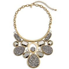 Chico's Trena Statement Necklace (€83) ❤ liked on Polyvore featuring jewelry, necklaces, neutral, chicos jewelry, imitation jewelry, drusy jewelry, fake jewelry e bib statement necklace