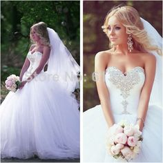 2014 Designers New Arrival Princess Sweetheart Crystal Wedding Dresses Ball Gown Tulle With Lace Up Back