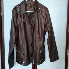 Jacket Burnt sienna colored silver studded  jacket w/zipper front, 60% polyurethane, 35% viscose, 5% polyester. Lining 100& polyester... wipe clean with damp cloth, made in China... NWOT Jou Jou Jackets & Coats