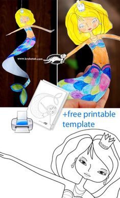 DANCING MERMAID + Printable Template