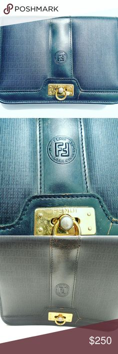 VINTAGE FENDI WITH GOLD GANCINI LATCH AUTHENTIC FENDI PURSE NEEDS STRAP BUT COULD BE USED AS A CLUTCH! WIDTH 10.5 LENGTH 7.5 DEPTH 6.5 BUY NOW OR BUNDLE AND SAVE  WE LOVE OFFERS!  SUGGESTED SELLER  SAME DAY SHIPPING  SHOP WITH CONFIDENCE! Fendi Bags