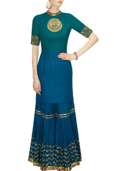 Blue color short kurta and garara