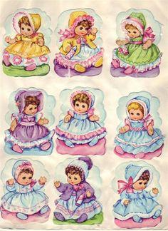 Vintage Wrapping Paper, Vintage Paper Dolls, Vintage Birthday, Vintage Easter, Vintage Pictures, Vintage Images, Decoupage, Little Monkeys, Retro Toys