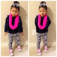 Toddler Fashion, zebra print, infinity scarf, pink chucks, zebra bow, fashion