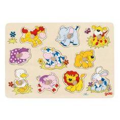 Steckpuzzle mit Tierkindern, Kleinkind, Holzspielzeug