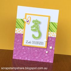 Inspired by a card design on page 19 of the Seasonal Expressions Idea Book, this card features the February 2016 Stamp of the Month, Balloon Animals, Penelope  Paper and Pear Exclusive Inks Stamp Pad.  Created by Denise Tarlinton, CTMH Manager http://scrapstampshare.blogspot.com.au
