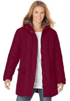 Plus Size Coat, faux-fur hooded microfiber parka