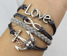 Antique silvery love bacelet anchor bracelet infinity by handworld, $6.29