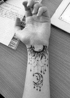 art, blackandwhite, draw, moon, sun, tattoo