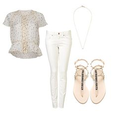 white jeans with embellished sandals and sweet top
