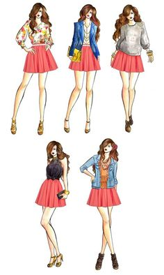 Drawings by Lisa Jiang for Cafe la Moda