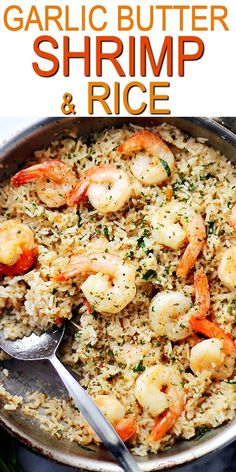 Garlic butter shrimp and rice! garlic butter lends an amazing flavor to this speedy and incredibly delicious meal with shrimp and rice shrimp rice garlic 20 minute blackened shrimp and asparagus skillet Shrimp Rice Recipe Easy, Shrimp And Rice Recipes, Shrimp Recipes For Dinner, Easy Rice Recipes, Shrimp Dishes, Seafood Dinner, Fish Recipes, Seafood Recipes, Cooking Recipes