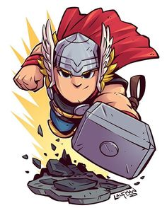 Chibi Thor by Derek Laufman Chibi Marvel, Marvel Art, Marvel Dc Comics, Marvel Heroes, Thor Marvel, Heroes Comic, Flash Comics, Thor 2, Cartoon Kunst