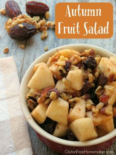 Autumn fruit - apples, pears, and dates - are combined with walnuts, dried cherries, cinnamon, and honey in this Autumn Fruit Salad. Found at GlutenFreeHomemaker.com