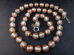 SUPERB ANTIQUE SAPHIRET NECKLACE HUGE FACETED BEADS SILVER CLASP