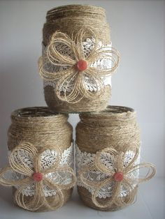 This listing is for a set of 3 hand-decorated jar. Decorated with jute, lace and handmade flower fabric. They make a wonderful accent to your wedding whether its rustic, woodland, barn shabby, or vintage! This listing is for 3 jars . Rustic wedding decor, Lace and burlap mason jar, burlap centerpiece, country home decor. dimensions: Height 5 1/2 or 14 cm