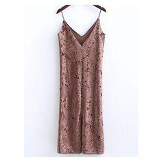 Khaki Slit Velvet Cami Dress (48 BRL) ❤ liked on Polyvore featuring dresses, camisole dress, velvet dress, brown cami, brown camisole and khaki dress