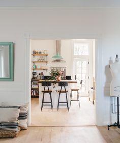 Peek inside! Open shelving style featuring Arched Shelf Brackets from Rejuvenation.