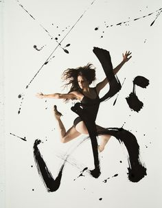 """""""Rurubu (meaning """"to dance and flow slowly"""" in Japanese) is a collaborative project by Toronto-based photographer Haley Friesen and San Francisco-based calligraphy artist Nobuhiro Sato that explores the powerful expressions of body movement coupled with energetic strokes of ink."""" -- My Modern Metropolis"""