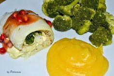 Petiscana: Rolinhos de Peixe-Gato de fiambre, queijo e espinafres com molho agridoce de romã
