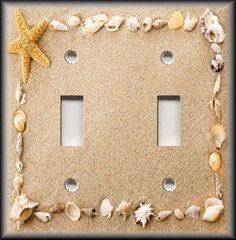 Sea Shells Pattern Print Image Design Double Light Switch Plate