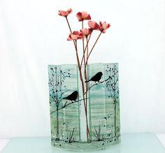 blue Fused glass  vase bird  landscape by virtulyglass on Etsy, $54.00