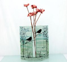 blue Fused glass  vase bird  landscape by virtulyglass on Etsy, $54.00