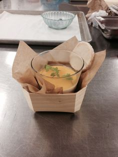 Soup served in a panibois wooden baking mold. Our molds aren't just for baking. They make for beautiful presentation.