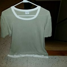 Armani cashmere short sleeved sweater Beautiful Armani cashmere sweater. Loose fitting, cute, and comfortable!  :) Make an offer!!! (Model is a size small) Armani Exchange Sweaters