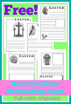 These free Easter notebooking pages are gorgeous!  They print beautifully in full color or black and white, and my children love them!