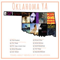 Have you been to Oklahoma? Let these 10 YA books take you there! Can you add any more? #YabyState  Hereafter by #TaraHudson Knights of the Hill Country by #TimTharp Marked by @pccastauthor @kcastauthor  Oh My Goth by @genashowalter  The Outsiders by #SEHinton  Ready Player One by @ernestcline  The Revenant by @soniagensler  The Secret Hour by @scott_westerfeld  The Spectacular Now by #TimTharp The Springsweet by @smitchellbooks