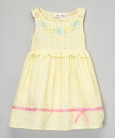 Love this Yellow Covington Ribbon Dress - Toddler & Girls on #zulily! #zulilyfinds 8.99
