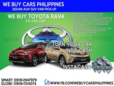 We Buy Used Toyota Rav4 Philippines  Contact numbers: SMART: 0919-294-7979 GLOBE: 0927-956-2590 / 0906-151-4074  We Buy Toyota Innova 2.5 VDsl A/T  We Buy Toyota Innova 2.0 VGas A/T  We Buy Toyota Innova 2.5 GDsl A/T  We Buy Toyota Innova 2.0 GGas A/T  We Buy Toyota Innova 2.5 GDsl M/T  We Buy Toyota Innova 2.0 GGas M/T  We Buy Toyota Innova 2.5 EDsl A/T  We Buy Toyota Innova 2.0 EGas A/T  We Buy Toyota Innova 2.5 EDsl M/T  We Buy Toyota Innova 2.0 EGas M/T  We