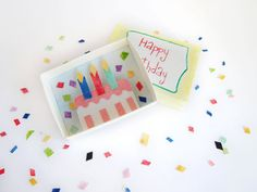 Happy birthday, matchbox art, birthday wishes, miniature diorama, colorful cake, 3d artwork