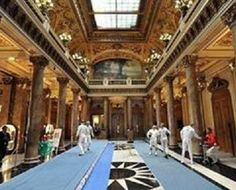 Fencing in Monaco. Modest and understated salle.