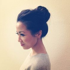 a big, thick sock bun is another fav for under my helmet & in the crazy heat