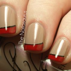 Nude nail with red french tip