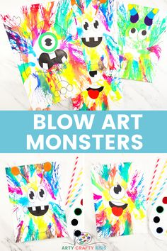 Learn how to create Monster Art with the Blow Painting with Straws technique! This is an amazingly fun, creative and easy art project for kids, where kids will learn how to use straw painting in their monster craft creations, while exploring color, patterns and shape. Halloween Crafts For Kids To Make, Halloween Art Projects, Easy Art Projects, Easy Crafts For Kids, Arts And Crafts Projects, Projects For Kids, Ghost Crafts, Spider Crafts, Monster Crafts