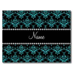 Personalized name turquoise glitter damask post cards
