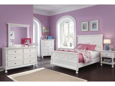 The beauty of Vintage Casual design shines with the bright white durable finish along with the stylish X-motif and half rounded pilasters adorning the bed and case pieces, making the Kaslyn Bedroom Set by Signature Design by Ashley Furniture the perfect w Girls White Bedroom Set, Full Size Bedroom Sets, Sleigh Bedroom Set, Girls Bedroom Sets, Girl Bedrooms, Queen Bedroom, 60s Bedroom, Bedroom Setup, Bedroom Furniture Sets