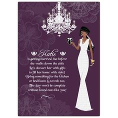 African American Bridal Shower Invitations: Make her bridal shower special and super feminine with these shabby chic lingerie shower invites donning a pretty African American woman dressed in a sophisticated wedding dress, complete with a veil holding a glass of champagne and a gift.