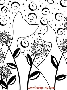 Glow Cats Traceable and coloring page for the Art sherpa as seen on youtube