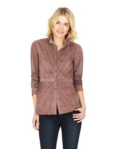 Perforated Suede Shirt Jacket