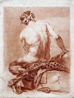 A Satyr. 1892.Daniel Huntington. American 1816-1906. red chalk on paper.http://hadrian6.tumblr.com